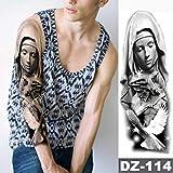 shiyueNB Big Tattoo Ärmel wasserdichte Jungfrau Maria Jesus-Gebet Taube Rose Tattoo Mann Totem...