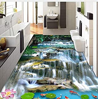 Lifme Custom 3D Flooring Wallpaper Chinese Style Waterfalls Landscape Photo Murals PVC Waterproof Self Adhesive Living Room Sticker 3D-250X175Cm