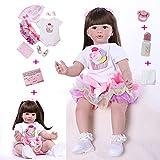 ZIYIUI Reborn Baby Doll Girl 24 Zoll 60 cm Lebensechte Neugeborene Babypuppe Silikon Vinyl Handgemachte Kleinkindpuppe