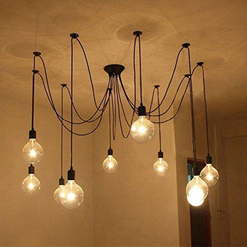 Lixada Kronleuchter Pendelleuchten 9 Lichter Hängende Lampen Deckenbeleuchtung (9 arm)