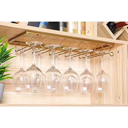 MAJOZ0 Soporte para copas de vino colgante - Soporte para copas de vino con 4 rieles para cocina / bar / fiesta, 40 x 22,5 x 6 cm