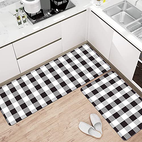 Pauwer Kitchen Mats Cushioned Anti Fatigue 2 Piece Set Floor Mat Non Slip Waterproof Kitchen Rugs and Mats Heavy Duty PVC Ergonomic Comfort Standing Mat for Kitchen, Sink, Laundry