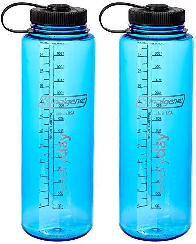 Nalgene 48-Ounce Silo Tritan Wide Mouth Water Bottle (Blue 2-Pack)