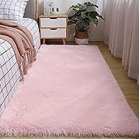 柔らかいラグ/シャギーふわふわベロアカーペット滑り止め洗える飾り絨毯畳マットラグマットに適用するリビングルーム寝室ベランダ-180バツ200cm(71バツ79インチ)-ピンク