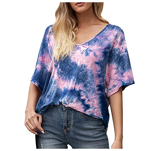Camisas De Mujer De Moda, Ropa De Verano 2021, Camisas Polo Mujer, Ropa Primavera Verano 2021, Moda para Mujer Tallas Grandes Color Degradado Cuello En V Manga Corta Camiseta Tops Blusa