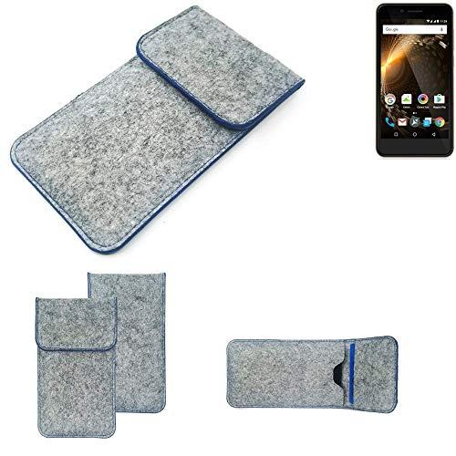 K-S-Trade Handy Schutz Hülle Für Allview P6 Energy Mini Schutzhülle Handyhülle Filztasche Pouch Tasche Hülle Sleeve Filzhülle Hellgrau, Blauer Rand