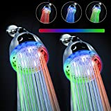 2PACK LED Shower Head, 7 Color Flash Light Automatically Changing LED Fixed ShowerHead for Bathroom Upgraded Adjustable Luxury ShowerHead High Pressure Flow Rain for Kids Adult Tool-Free Installation