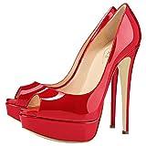 COLETER Zapatos de tacón alto Peep Toe de las mujeres Zapatos de tacón alto Bombas de plataforma, color Rojo, talla 37 EU