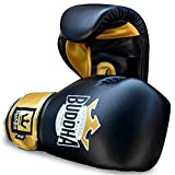 Buddha Fight Wear Guantes de Boxeo Top Fight Negro Oro 12 Onzas