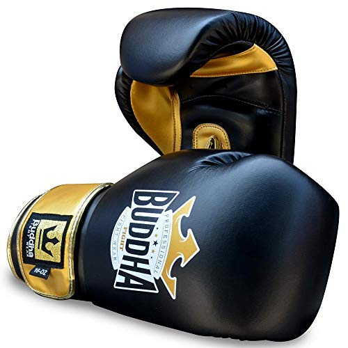 Buddha Fight Wear Guantes de Boxeo Top Fight Negro Oro 12 Onzas