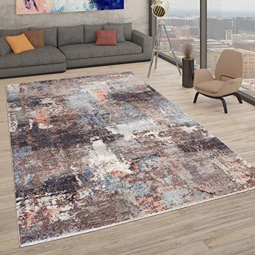 Paco Home Teppich, Moderner Kurzflor-Teppich Für Wohnzimmer, Abstrakte Used-Optik, In Bunt, Grösse:120x170 cm