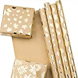 RUSPEPA Wrapping Paper Roll Sheets Kraft Paper - Pumpkin and Maple Leaf Autumn Design Gold Foil -...