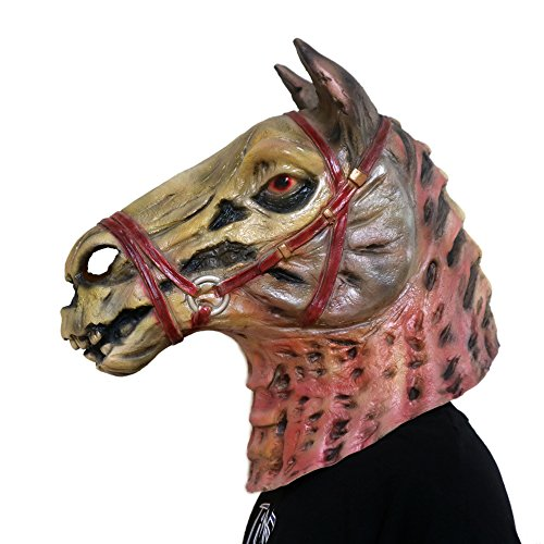 TTCXDP Paard Hoofd Masker, Halloween Masker Schedel Hoofd Paard Gezicht Props Bang Latex Masquerade Cosplay Volwassen Mannen En Vrouwen Props Kleding