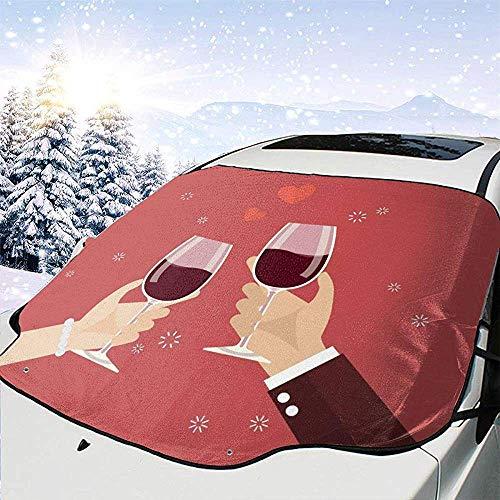 c-sky Valentinstag Mann und Frau beim Anstoßen von Weingläsern Auto Windschutzscheibe Schneedecke Wasserdicht Frostschutz Winter Eisdecken Winddicht