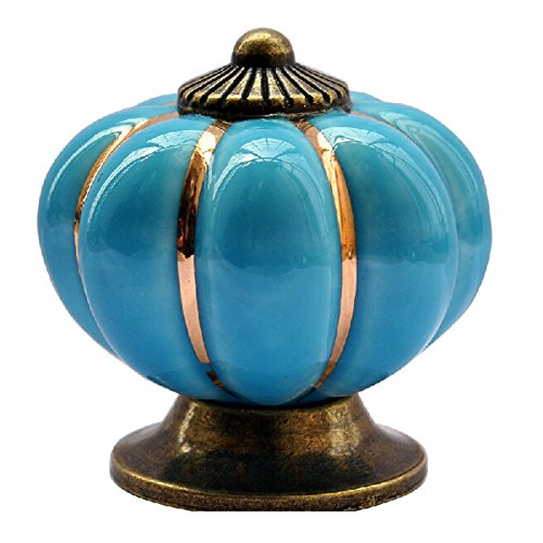 VORCOOL 40mm Novedad Calabaza Moldeada cerámica pomo de Puerta de Cocina Armario Cajón Knob Pull Mango (Azul)