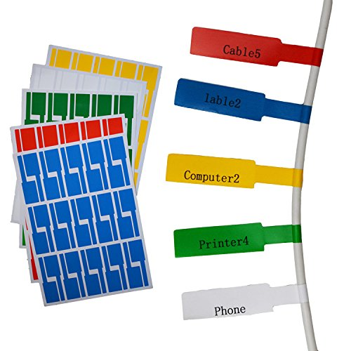 Onirii 10 Sheets 300 Labels Assorted Colors A4 Size Waterproof Tear Resistant Durable Self-Adhesive Cable Label