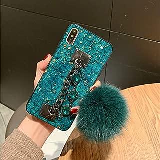 MayCase iPhone 8 Fur Ball Case with Bracelet, Luxury Stylish DIY Handmade Fluffy Fuzzy Pompom Plush Hairball Diamond Rhinestone Hand Chain Strap Holder Hard PC Phone Case for iPhone 8