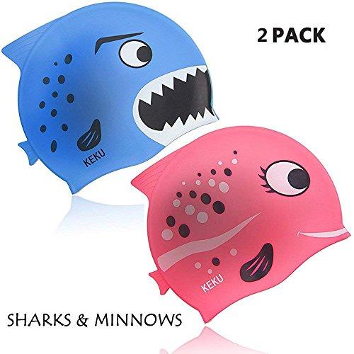 KEKU cuffia da nuoto per bambini 2pezzi Shark e piccoli pesci silicone cuffia da nuoto per bambini sono adatti per bambini e bambine dai 3ai 12anni