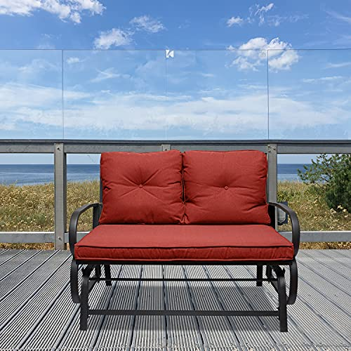 Outdoor Indoor Glider Bench, Patio Glider Chair with Cushions, Swing Loveseats Porch Rocking Seating, Patio Furniture Chair for Backyard, Garden, Lawn, Balcony (Red)