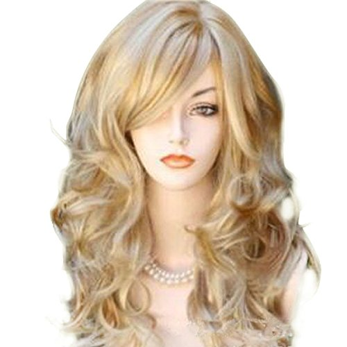 65cm Sexy Golden Blond Long Big Wave Mix Full Volume Curly Wavy Wig W/Long Bang Women's Girl Hot Full Hair Wig s Cosplay Costume Party Anime Wigs