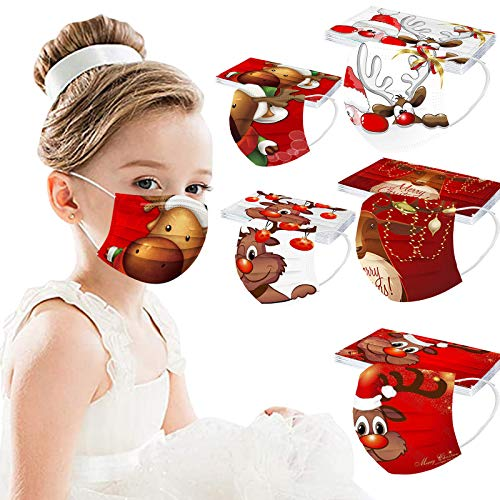 【US in Stock】 50Pcs Christmas Disposable Face_Covering_Mask for Children Kids Reindeer Elf Print Adjustable Ear Loops Nose Wire Face_Covering_Mask Anti Dust Fog Full Protection