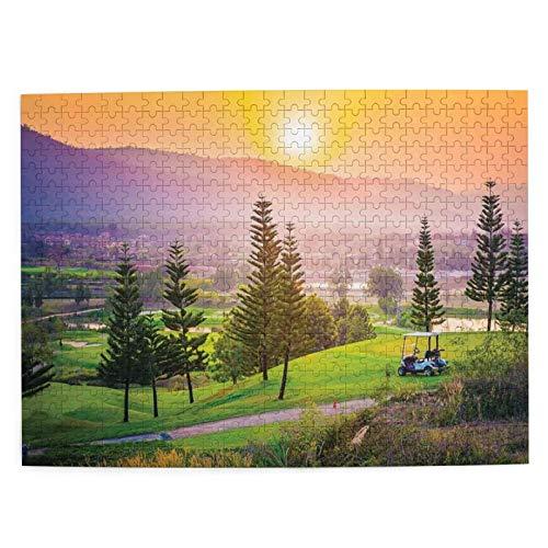 Starodec Adulto 500 Piezas Juego de Rompecabezas Golf Resort Park en la Temporada de Primavera con árboles Sunset Hills y Valley Fin del día Juguetes Educativos para Niños Decoración hogareña