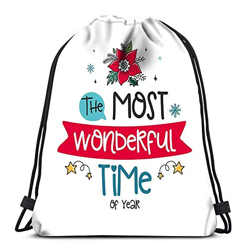 N / A Drawstring Backpack Bags Christmas Poinsettia Decor Elements Color Image the Portable Shoulder Bags Travel Sport Gym Bag 36 x 43cm/14.2 x 16.9 Inch