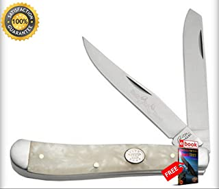 FOLDING POCKET Sharp KNIFE Rite Edge 3.75'' White Pearl Large Classic Trapper 2 Blade Combat Tactical Knife + eBOOK by Moon Knives