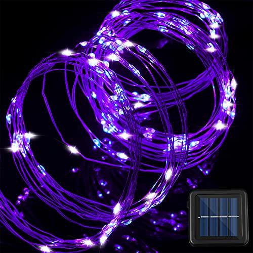 Luz de Manojo de 200 LED Luz Solar LED de 8 Modos de Parpadeo Luz de Alambre de Cobre con Control Remoto Luz de Regadera Solar para Suministro Decorativo de Navidad Jardín (Morado)