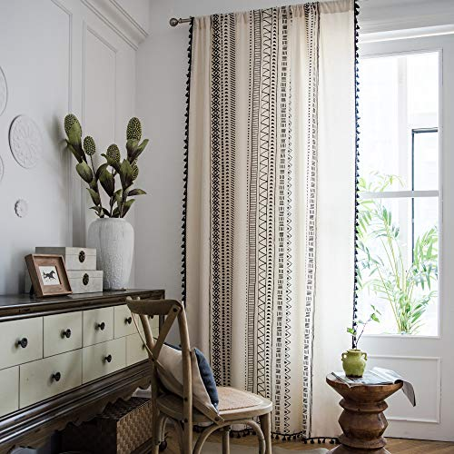 Nordic Modern Window Curtains, Bohemian Curtains with Tassels, Black Geometric Printing Curtain Panels, Linen Cotton Semi-Blackout Window Treatment for Living Room/Bedroom, 52' x 84'-2 Panels Set
