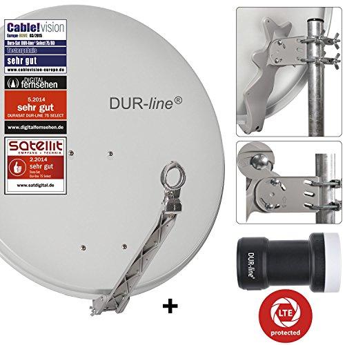 DUR-line 1 Teilnehmer Set - Qualitäts-Alu-Satelliten-Komplettanlage - Select 75cm/80cm Spiegel/Schüssel Hellgrau + Single LNB - für 1 Receiver/TV [Neuste Technik, DVB-S2, 4K, 3D]