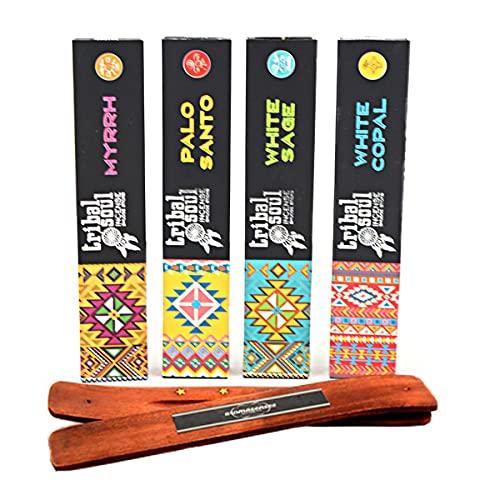 Tribal Soul inciensos 4 Cajetillas de 15 Gramos, Mirra, Palo Santo, Salvia Blanca y Copal Blanco +...