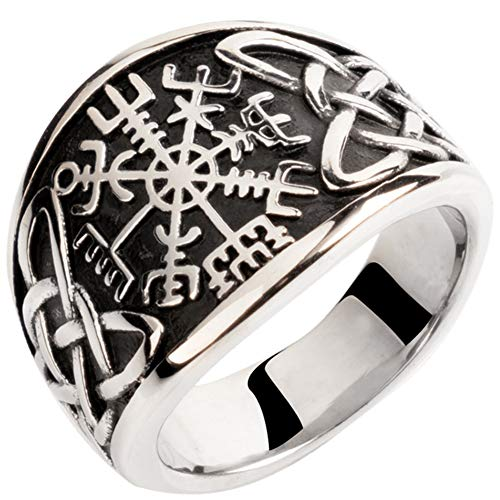 Serired Viking Vegvisir Compass Rune Rings para Hombres, Joyería De Nudo Celta Gótico Nórdico,11