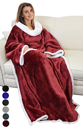 Catalonia Sherpa Wearable Blanket with Sleeves Arms,Super Soft Warm Comfy Large Fleece Plush Sleeved TV Throws Wrap Robe Blanket for Adult Women and Men Wine