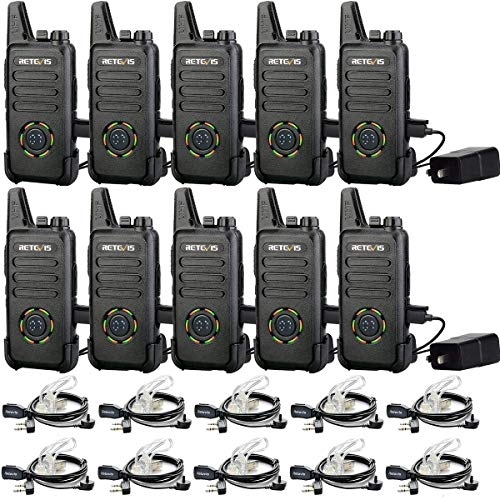 Retevis RT22S Two Way Radio,Rechargeable Walkie Talkies Adults,22 Channel Display 2 Way Radios Mini with Earpiece,VOX, Emergency Alarm,for Business(10 Pack)