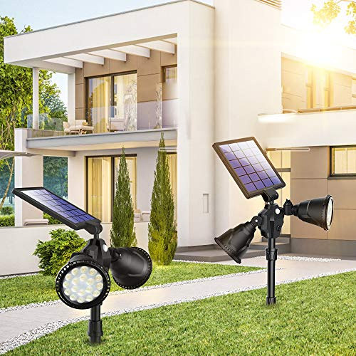 2 PCS Solar Spot Lights, Outdoor 36 LED Landscape Lamps Double Head 1000 Lumens Bright Spotlight Waterproof Flood Lamp with Motion Sensor for Deck Yard Garden Garage Driveway (Yellow - 2 Pack)