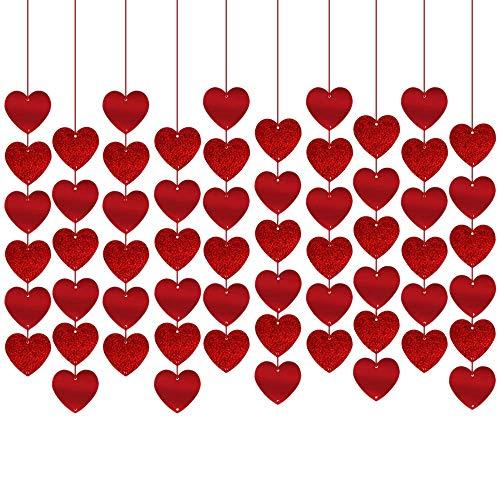 Cobeky 12 piezas rojo brillante corazón guirnalda letrero, decoración de fiesta de San Valentín, fiesta de boda, fiesta, decoración de cuerda para colgar