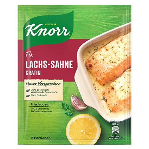 Knorr Fix Lachs-Sahne Gratin (mit feiner Dillnote, ohne geschmacksverstärkende Zusatzstoffe und Farbstoffe), 1er Pack (1 x 28 g)
