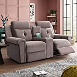 KKSAFE Double Reclining Loveseat with Console,Manual Motion Fabirc Dual Recliners with Console,Rv Recliner Sofa Couches with Storage and Cup Holders, Austere Contemporary Rv Furniture for Living Room