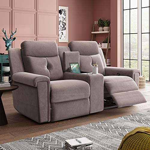 KKSAFE Double Reclining Loveseat with Console, Manual Motion Fabirc Dual Recliners with Console, Rv Recliner Sofa Couches with Storage and Cup Holders for Living Room