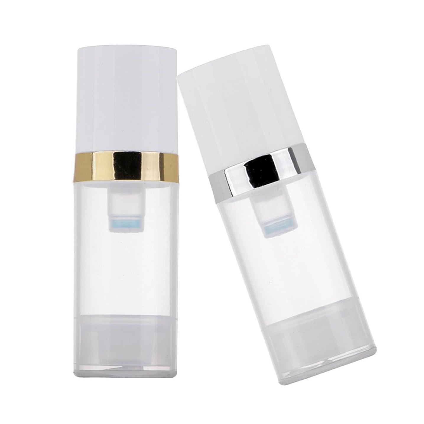 発明ハントにじみ出るKesoto 2個 ポンプボトル ディスペンサー 10ml クリア 真空 プレスポンプボトル 化粧品 ローション コンテナ 詰め替え可