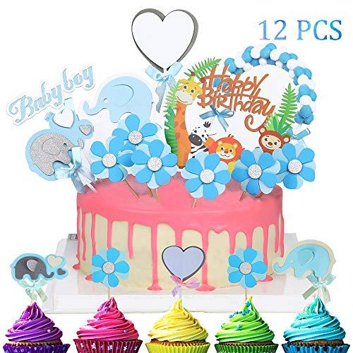 EKKONG Tortendeko Geburtstag, Cake Topper Tiere Tortendekoration, 12er Kuchendeko umfassen Happy Birthday Girlande, Wattebausch Girlande, Blume, Herzen, Elefant für Kinder Geburtstag Party (Baby Boy)