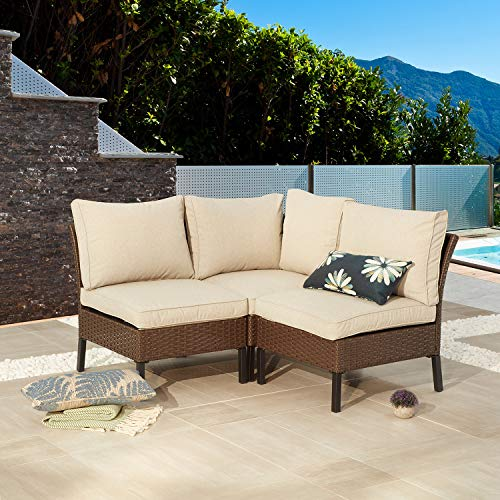 Festival Depot 3 Pieces Patio Conversation Set Sectional Corner Sofa Combination Outdoor All-Weather Wicker Metal Armless Chairs with Seating Back Cushions Garden Deck Poolside