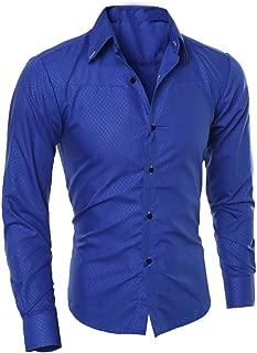 Shirts Tops Men Slim Button Down Regular Fit Long Sleeve Plaid Fashion