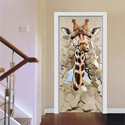 BXZGDJY 3D deursticker deurfolie Giraffe 77X200cm kinderkamer deurbehang cartoon dier deurfolie zelfklevend waterdicht afneembaar Pvc fotobehang deursticker poster wandfoto, deurbehang zelfklevend