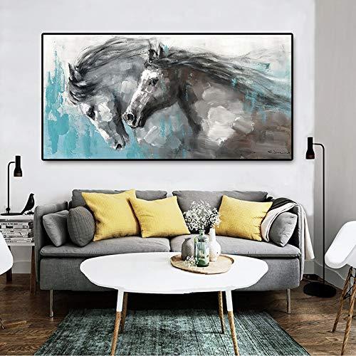 wZUN Arte Mural Caballo Corriendo Cartel Pintado a Mano Pintura al óleo Arte Abstracto Animal Imagen de la Pared en Lienzo para la decoración de la Sala de Estar 50x100cm