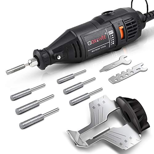 GOXAWEE Chainsaw Sharpener Kit 140W Power Chain Saw Sharpen Tool Set, Electric Blade Sharpening File Comes with 6pcs Diamond Sharpening Wheels, Angle Guide Attachment for Lumberjack & Garden Worker