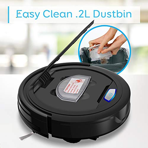 Pure Clean Vacuum Cleaner-HEPA Filter Pet Hair Allergies Friendly Robotic Auto Home Carpet Hardwood Floor-Automatic Bot Self Detects Stairs-Upgraded V2