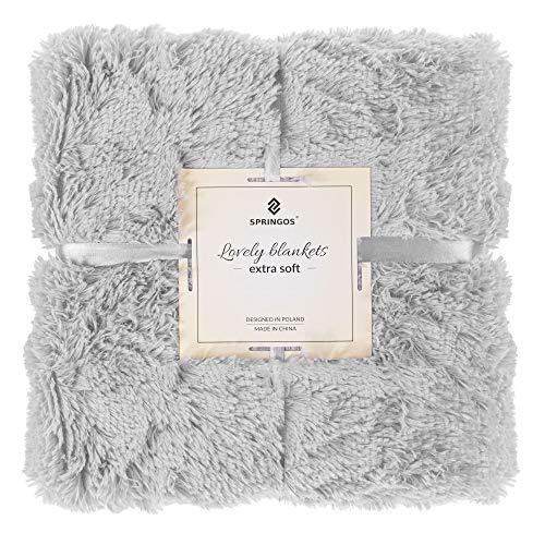 SPRINGOS Kuscheldecke|Plaid|Überwurf|Plüschdecke|Decke|Wohndecke|zweiseitig|Kunstfelldecke (Grau, 200x220 cm)