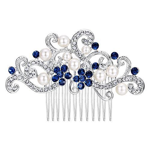 EVER FAITH Damen Haarkamm Österreichische Kristall Cream Simulierte Perle Floral Rebe Braut Hochzeit Haar Kamm Schmuck Blau Silber-Ton